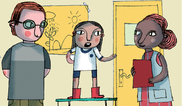 Ilustração de capa do caderno Democracia na Escola (arte: Lúcia Brandão)