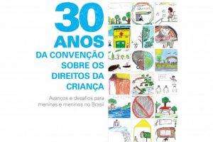 capa do documento de 30 anos da convenção sobre os direitos da criança com ilustrações infantis