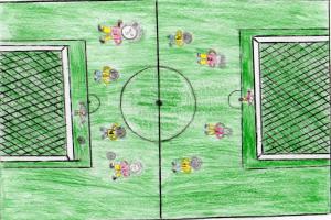 desenho de uma quadra de futebol com jogadores meninos e meninas