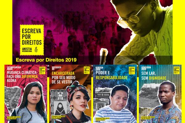 campanha anistia internacional com capas das publicações