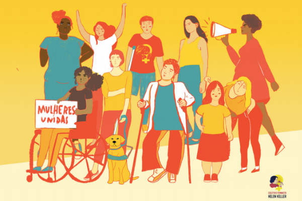 ilustração com mulheres com deficiência e uma delas segura cartaz com dizer mulheres unidas